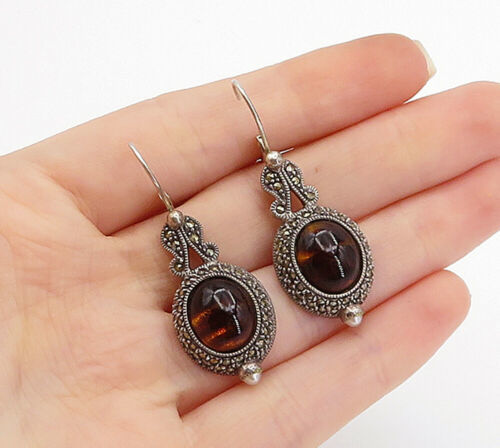 Primary image for JUDITH JACK 925 Silver - Vintage Striped Amber & Marcasite Drop Earrings - E9213