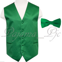 Emerald Green 10JJ Tuxedo Suit Vest Waistcoat and Straight Cut Bow tie W... - $17.80+