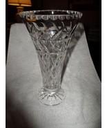 Beautiful TALL Vintage Cut Glass Crystal Trumpet Vase Thumb Notch Top Edge - $165.00