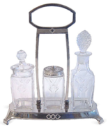 Art Nouveau Jugendstil Chrome and Glass Cruet Set - $65.00