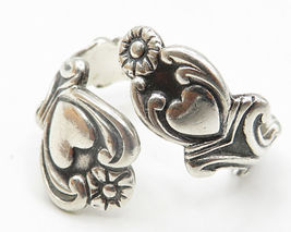 AVON 925 Silver- Vintage Love Heart & Floral Decor Bypass Band Ring Sz 8 - R5094 image 3