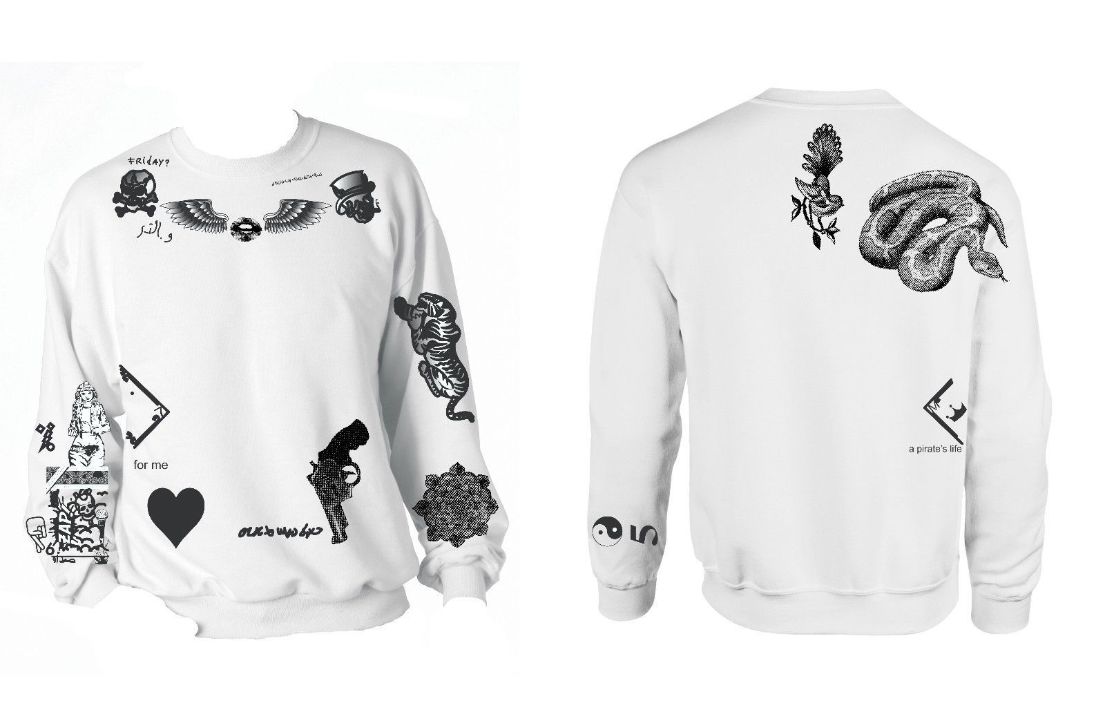Crewneck Sweatshirt Zayn Malik Tattoos One Direction 1D
