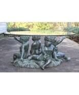 Vintage Bronze Nude Cherubs Children Sculpture Table - $950.00