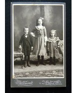 3 Children Siblings Cabinet Card Photograph Ked... - $5.99