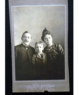 Family Couple w Boy Cabinet Card Photograph Pin... - $4.99