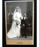 Wedding Bride & Groom Cabinet Card Photograph F... - $4.99