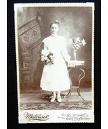 Young Girl Portrait Cabinet Card Photograph Ked... - $3.99
