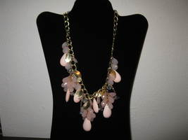 Beautiful Pink Chunky Bib Crystal Charm Necklace New & Hot! #D647 - $15.99