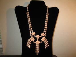 Lovely Pink Flower Tassel Bib Necklace New & Hot! #D648 - $15.99