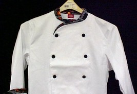 Dickies CW070303PER Executive Chef Coat Jacket Pepper Lattice Trim 34 New - $19.57