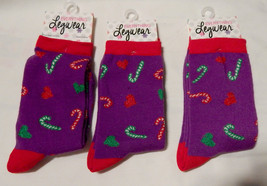 Christmas Everything Legwear Novelty Socks Girls Size 9 to 3 3pr Candy C... - $9.49