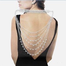 Rhinestone Accented Back Necklace  Silver - $49.00