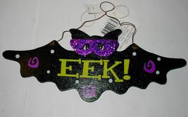 "Halloween Wooden Wall Sign By Celebrate It EEK Bat 10"" x 4"" 47Q - $4.93"