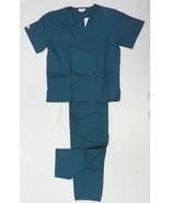 Expo 114 V Neck Elastic Waist Medical Uniform Scrub Set Teal Blue L Unis... - $29.67