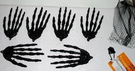 "Halloween Glitter Covered Skelton Hands 6pc Celebrate It Black Color 5"" ... - $4.93"