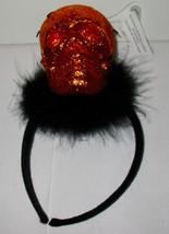 Halloween Adult Headband Hat by Celebrate it Skull Gliter Orange Hat 35O - $5.91