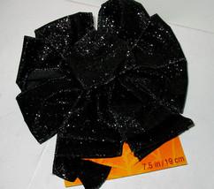 "Halloween Bow Black Glitter Celebrate It 12"" x  9"" Wired Bendable Decor 39Q - $3.94"