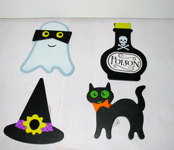 "Halloween Wooden Decor By Michaels 3"" x 3"" 4ea Ghost Cat Hat Potion Bott... - $5.91"