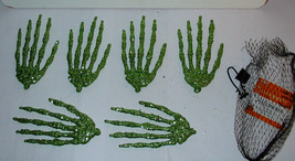 "Halloween Glitter Covered Skelton Hands 6pc Celebrate It Green Color 5"" ... - $4.93"
