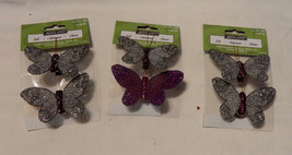 "Ashland Burlap & Glitter Butterflies 2"" x 3"" With Clip On 3ea 17S - $7.90"