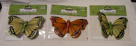 """Ashland Feather & Glitter Butterflies 4 1/2"""" x  3"""" With Clips On 3ea 18X - $5.90"""