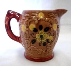 Japan Pitcher Vintage Tan Yellow Red Flower Floral Creamer Handled - $23.97