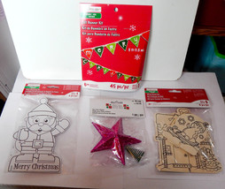 Creatology Christmas Lot Wood & Paper Kits Felt Banner Kit Star Tree Top... - $9.89