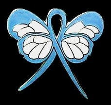 Light Blue Ribbon Butterfly Pin Pro Choice Lymphedema Cushing's Cancer C... - $13.97