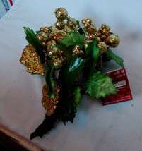 "Ashland Candle Ring 3"" Gold Berries Glitter Leaves Fall Decor All Holida... - $4.93"