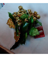 """Ashland Candle Ring 3"""" Gold Berries Glitter Leaves Fall Decor All Holida... - $4.93"""