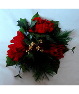 """Ashland Candle Ring 3""""Gold Berries Fall Decor Picks Red Flowers All Holi... - $7.89"""