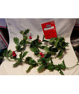 Ashland Garland 6ft Green Leaves Red Berries Fall Decor Picks All Holida... - $4.92