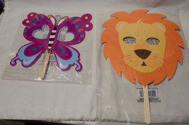 Halloween Creatology Mix Lot Face on a Stick Masks Butterfly & Lion 38D - $3.94