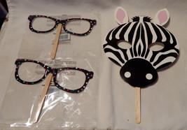 Halloween Creatology Mix Lot Face on a Stick Masks Zebra & Poka Dot Glas... - $3.94