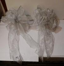 "Big Wedding Glitter Bows-Michaels 12"" x 9"" Silver on White 2ea Handcraf... - $9.86"