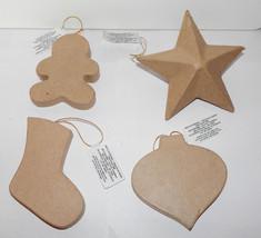 """Paper Mache Mixed Lot Ornaments Darcie 4 Total 4"""" x 3"""" Michaels Stores 33P - $7.89"""