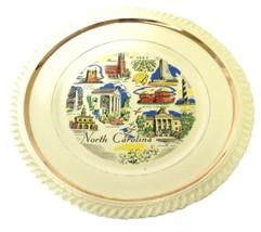 North Carolina State Souvenir Collector Plate Gold Trim Hatteras Raleigh... - $29.37