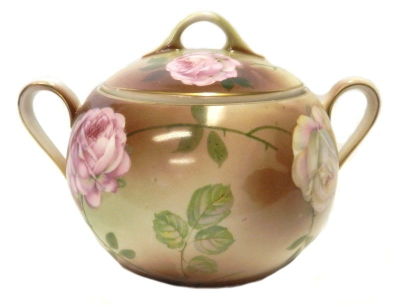 PSAG Bavaria Covered Sugar Dish Pink White Rose Cracker Hand Painted Vintage - $58.77