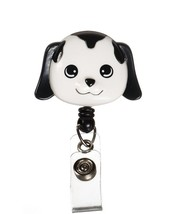 Retractable Black White Puppy Dog Medical Badge Deluxe 3-D ID Tag Clip H... - $12.71