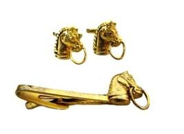 Vintage Hickok USA Gold Metal Horse Head Tie Bar Cuff Link Set 1950s Men... - $194.01