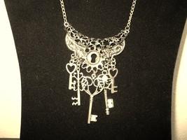 Chunky Bib Lock & Key Antique Gold Necklace New & Hot! #D654 - $15.99