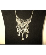 Chunky Bib Lock & Key Antique Gold Necklace New & Hot! #D654 - $15.99