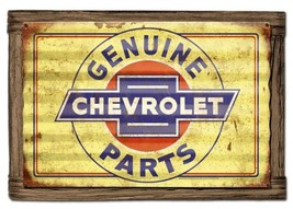 Genuine Chevrolet Parts Rustic Corrugated Metal Sign with Barnwood Frame - $75.00