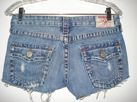 True Religion Joey Distressed 100% Cotton Cut Off Jean Shorts Size 27  - $25.00