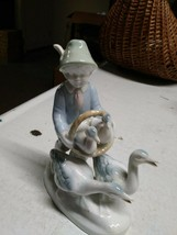 Vintage Gerold Porzellan West Germany Boy With Ducks And Geese Figurine ... - $11.87