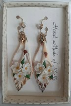 New Vintage 1960's Hawaiian Hand Made Floral Shell Pierced Earrings Faux... - $24.95