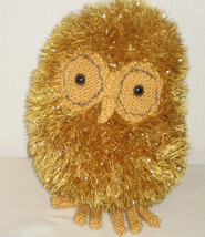 Fluffy Gold Sparkly Hand made Soft Toy Plush Bird Owl  - $15.77