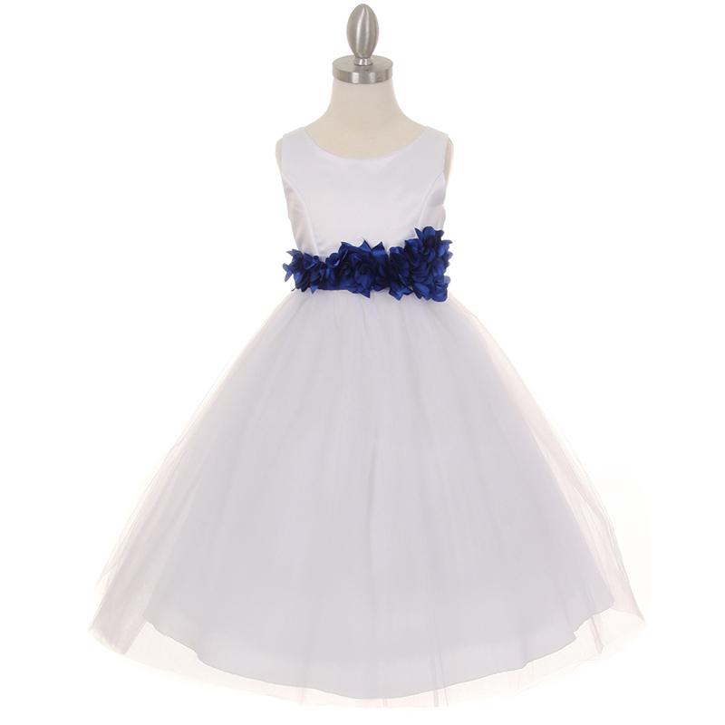 White Satin Bodice Layers Tulle Skirt Silver Petal Ribbon Sash Flower Girl Dress