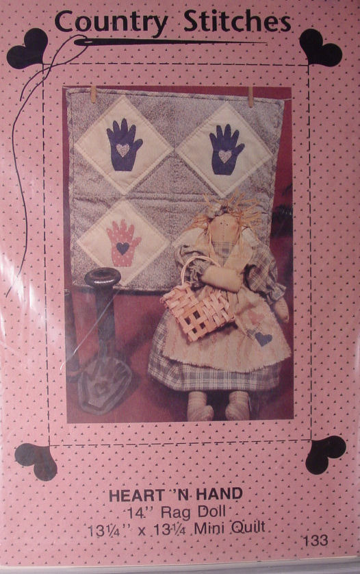 "Primary image for Pattern Heart n Hand Rag Doll 14"" and Mini Quilt 13.25"" square"