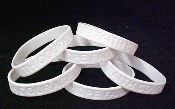Retinoblastoma Awareness Bracelets White 6 pc Cancer Lot Hope Faith Courage New